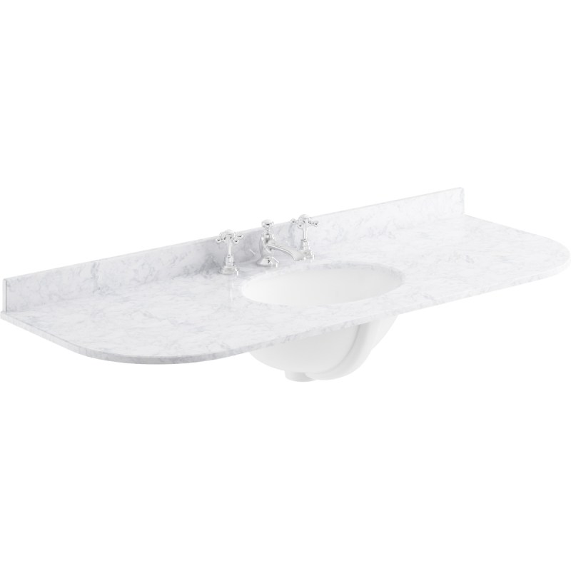 Bayswater White 1200mm Single Bowl 3 Tap Hole Curved Marble Top