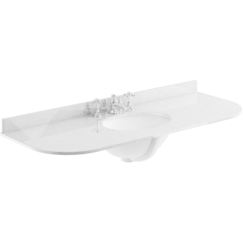 Bayswater Grey 1200mm Single Bowl 3 Tap Hole Curved Marble Top