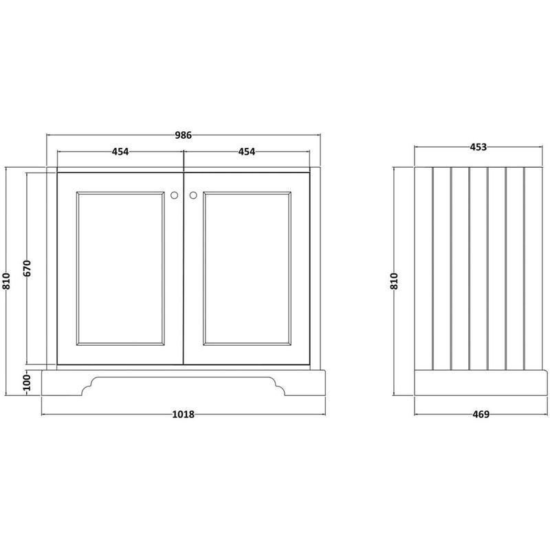 Bayswater 1000mm 2 Door Basin Cabinet Blue