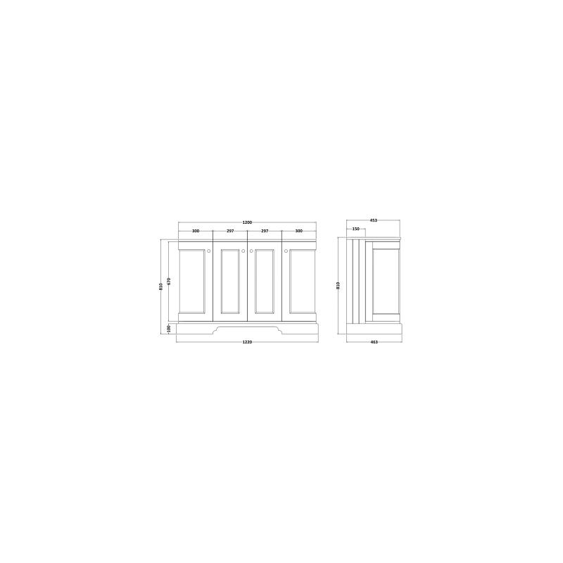 Bayswater 1200mm 4 Door Curved Basin Cabinet Grey