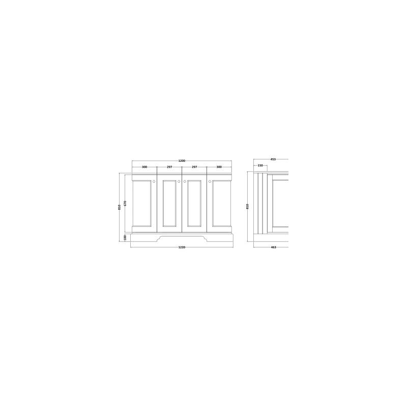 Bayswater 1200mm 4 Door Curved Basin Cabinet Blue