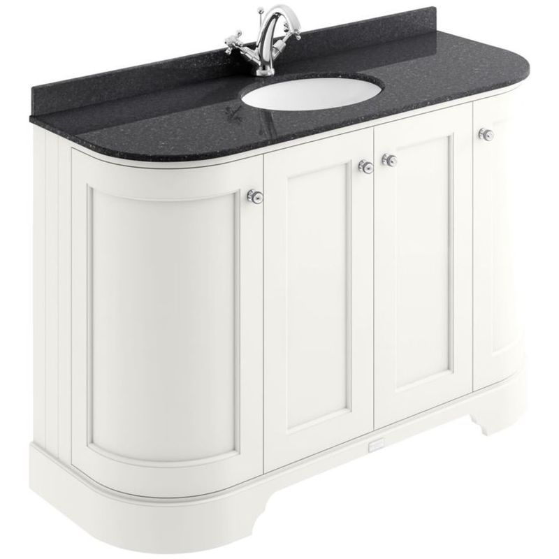 Bayswater 1200mm 4 Door Curved Basin Cabinet White