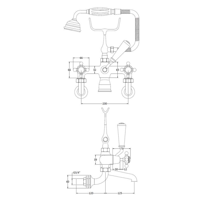 Bayswater White Wall Bath Shower Mixer, Crosshead & Dome Collar