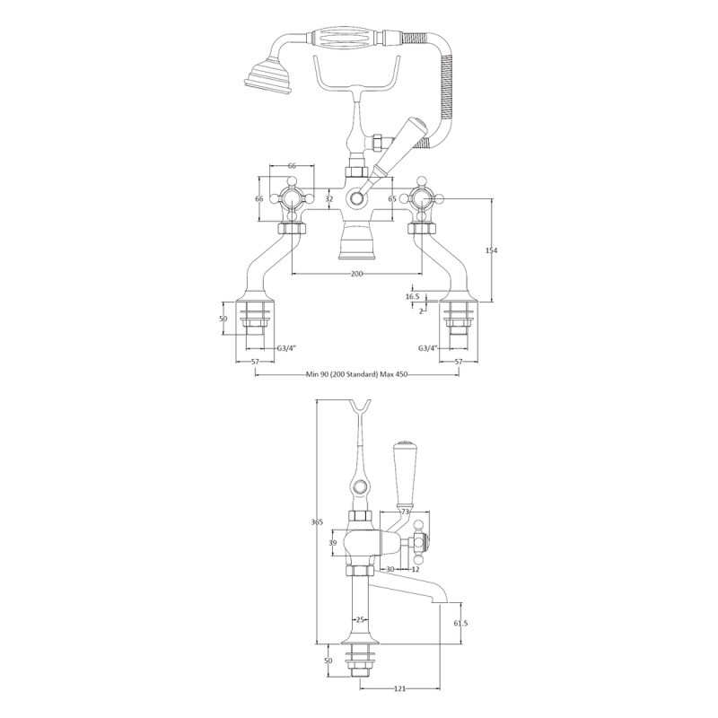 Bayswater Black Bath Shower Mixer with Crosshead & Dome Collar