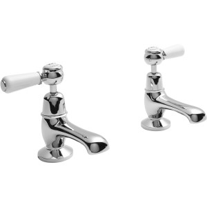 Bayswater White Basin Taps with Lever & Dome Collar