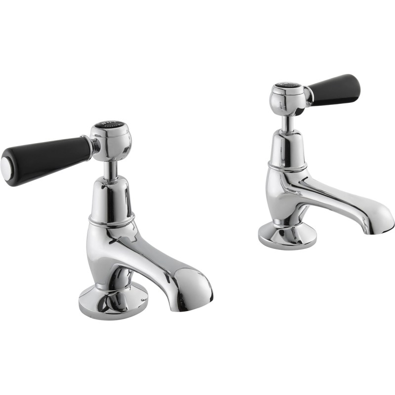 Bayswater Black Basin Taps with Lever & Dome Collar