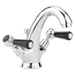 Bayswater Black Mono Basin Mixer with Lever & Dome Collar
