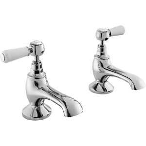 Bayswater White Bath Taps with Lever & Hex Collar