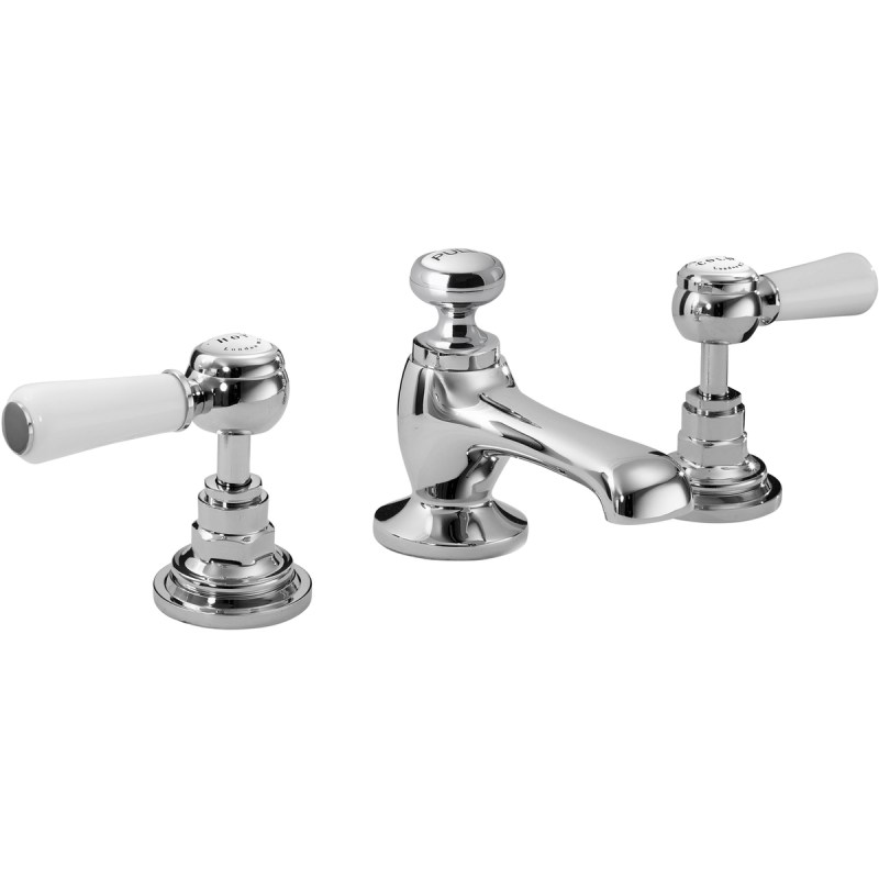 Bayswater White 3 Hole Basin Mixer with Lever & Hex Collar