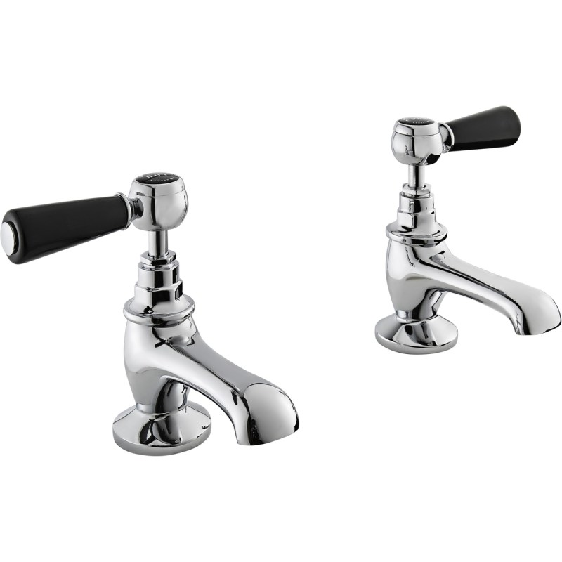 Bayswater Black Basin Taps with Lever & Hex Collar