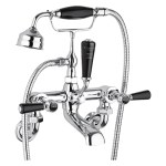Bayswater Black Wall Bath Shower Mixer with Lever & Hex Collar