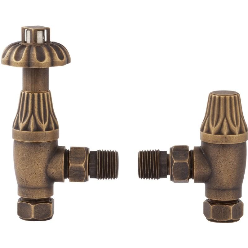Bayswater Antique Brass Angled Thermostatic Radiator Valves