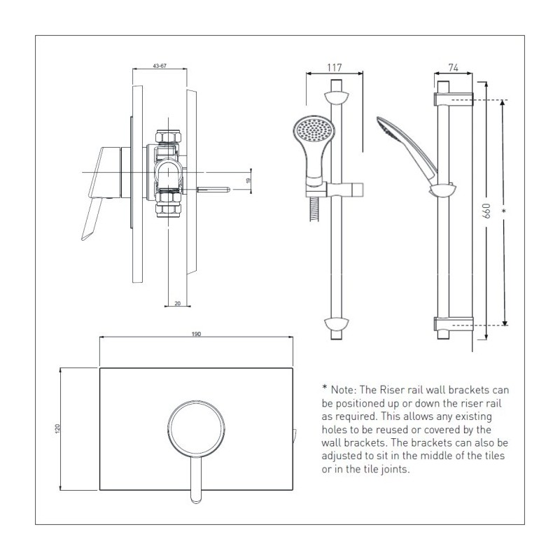 Bristan Acute Thermostatic Recessed Shower Valve & Riser