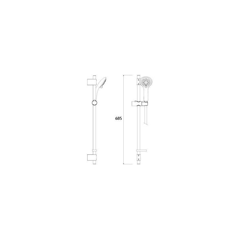 Bristan Cascade Shower Kit with Large Handset & Silver Hose