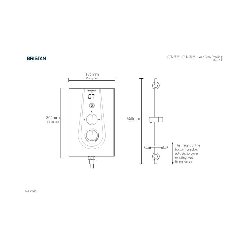 Bristan Joy Thermostatic 9.5kW Electric Shower Metallic Silver
