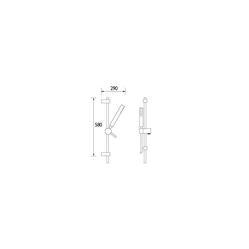 Bristan Qube Single Function Slide Bar Shower Kit