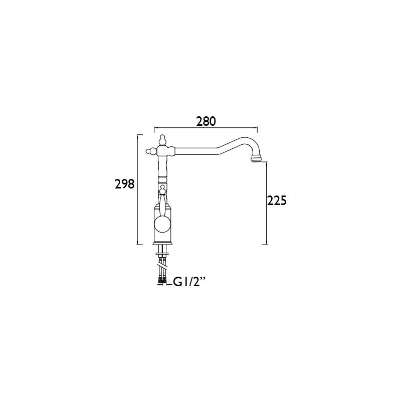 Bristan Colonial Single Lever Easyfit Sink Mixer Chrome