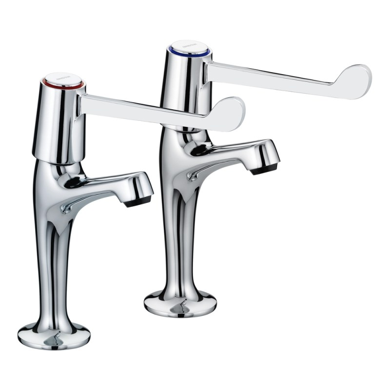 """Bristan Lever High Neck Pillar Taps with 6"""" Levers"""