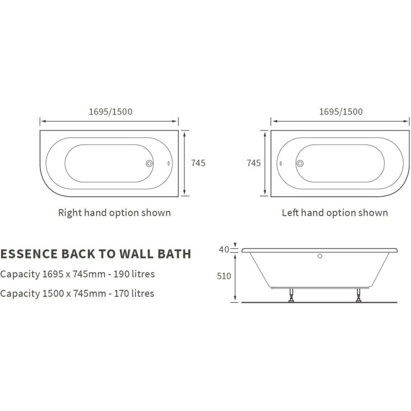 Bathrooms To Love Essence 1500x745mm Back To Wall Bath, Left