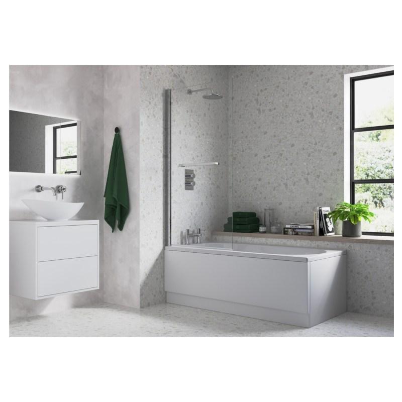 Bathrooms To Love Single Straight Edge Bath Screen & Rail