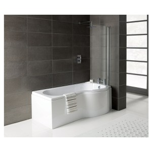 Bathrooms To Love Essentials P-Shape Shower Bath, Panel & Screen Right