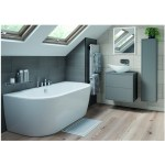 Bathrooms To Love Perla 900mm 2 Drawer Wall Vanity Unit Matt Grey