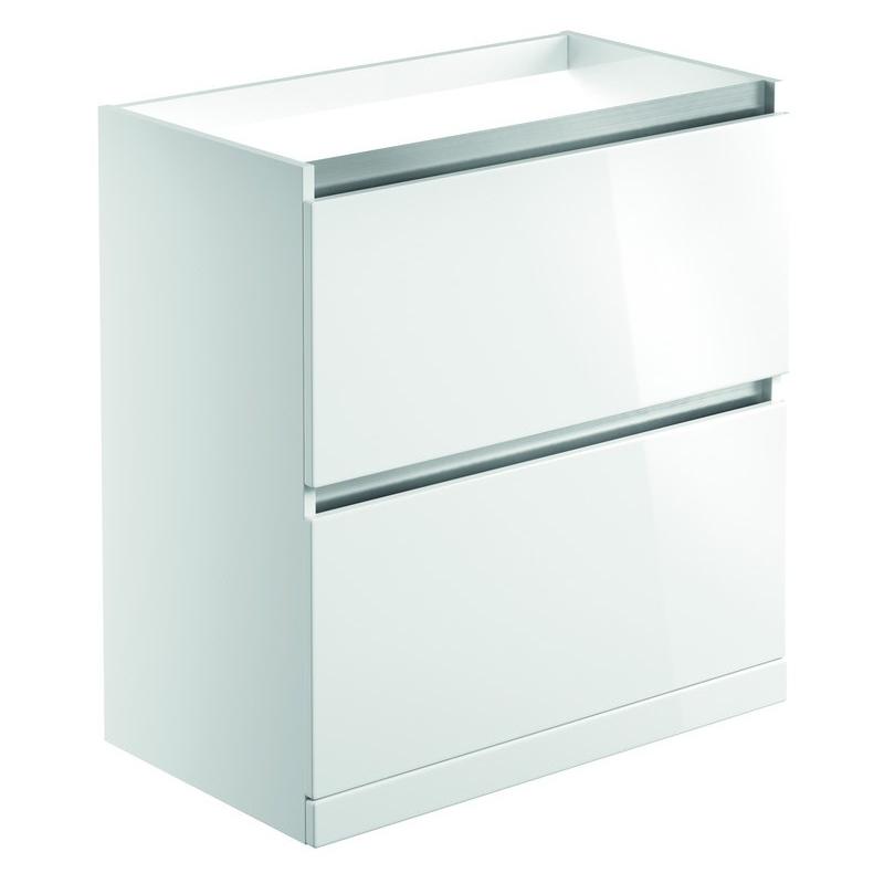 Bathrooms To Love Carino 800mm 2 Drawer Floor Unit White Gloss