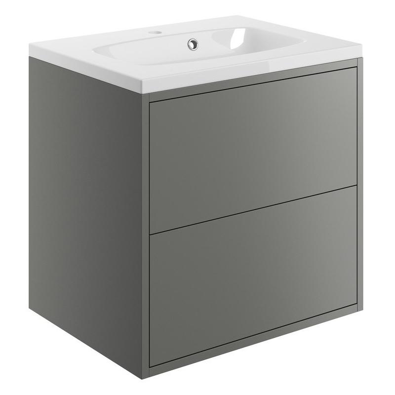 Bathrooms To Love Perla 600mm Wall Vanity Unit & Basin Matt Grey