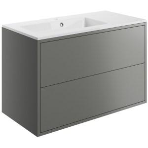 Bathrooms To Love Perla 900mm Wall Vanity Unit & Basin Matt Grey