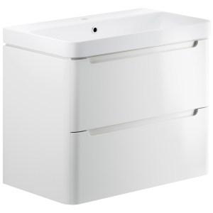Bathrooms To Love Lambra 800mm Wall Unit & Basin White Gloss