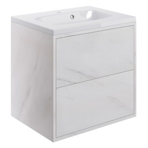 Bathrooms To Love Perla 600mm 2 Drawer Wall Unit & Basin Marble