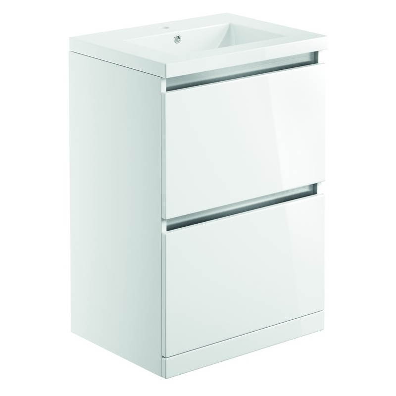 Bathrooms To Love Carino 600mm Floor Unit & Basin White Gloss