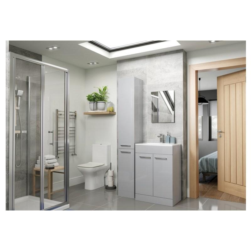Bathrooms To Love Volta 610mm Floor Unit & Basin Grey Gloss