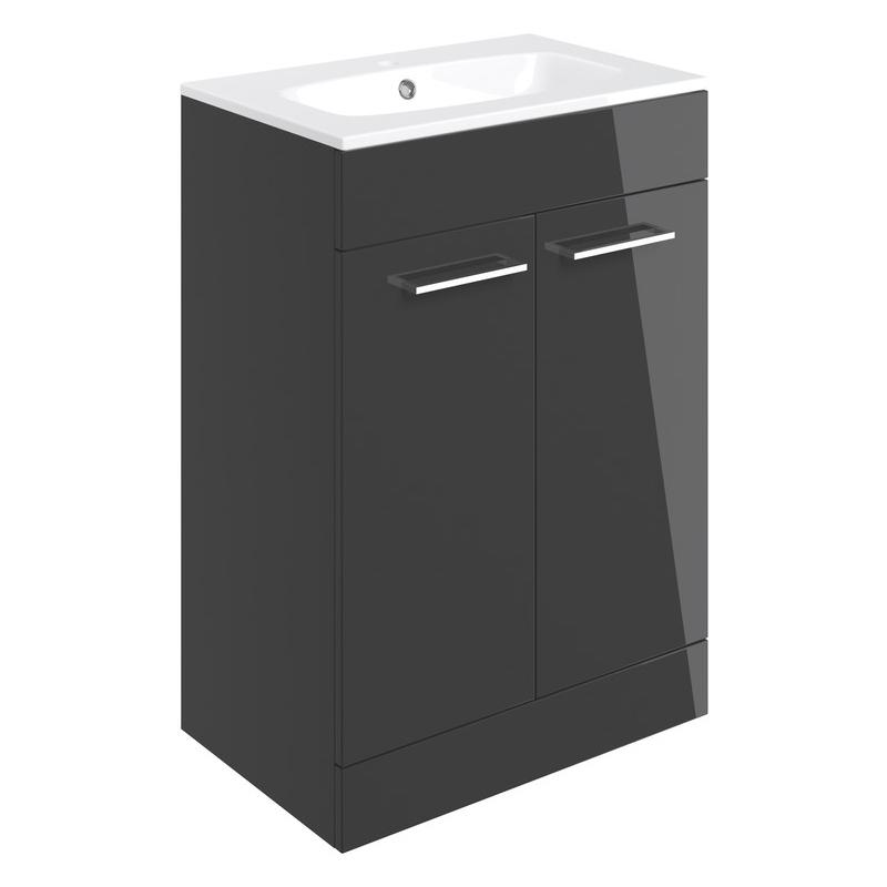 Bathrooms To Love Volta 610mm Floor Unit & Basin Anthracite Gloss
