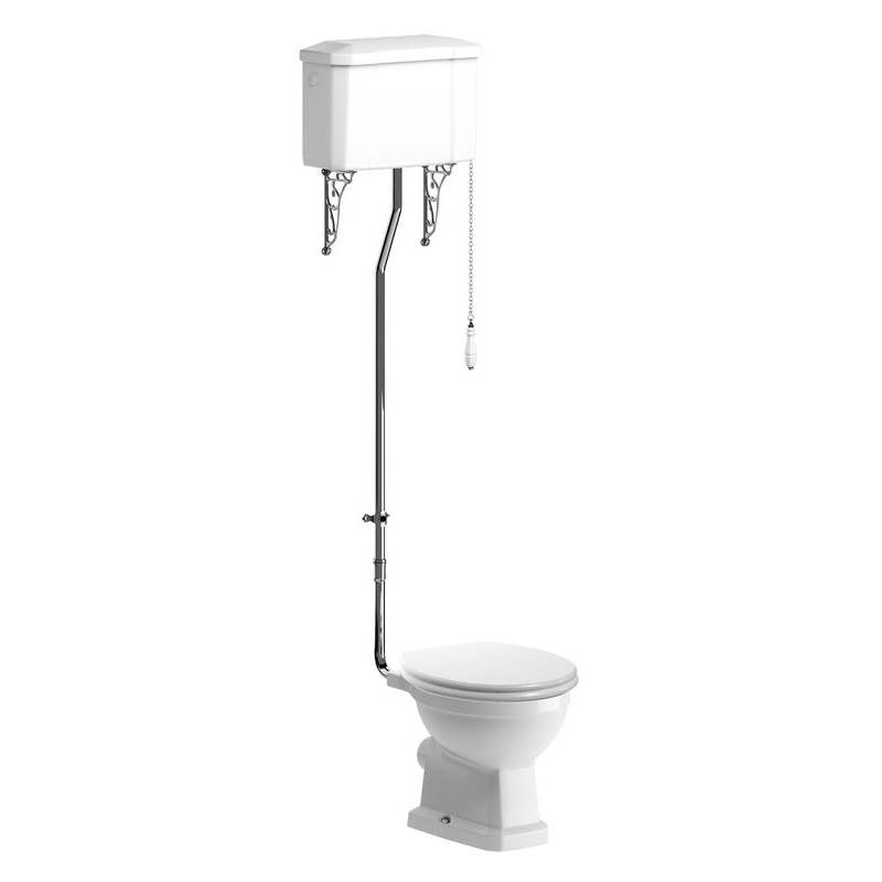 Bathrooms To Love Sherbourne High Level WC Pack, Satin White Seat