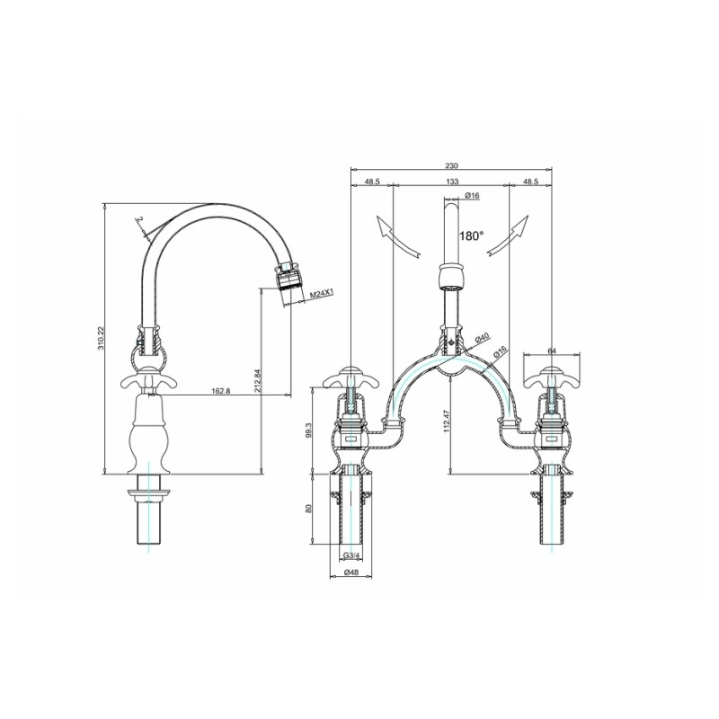 Burlington Anglesey Arch Basin Mixer, Curved Spout,  230mm Centres