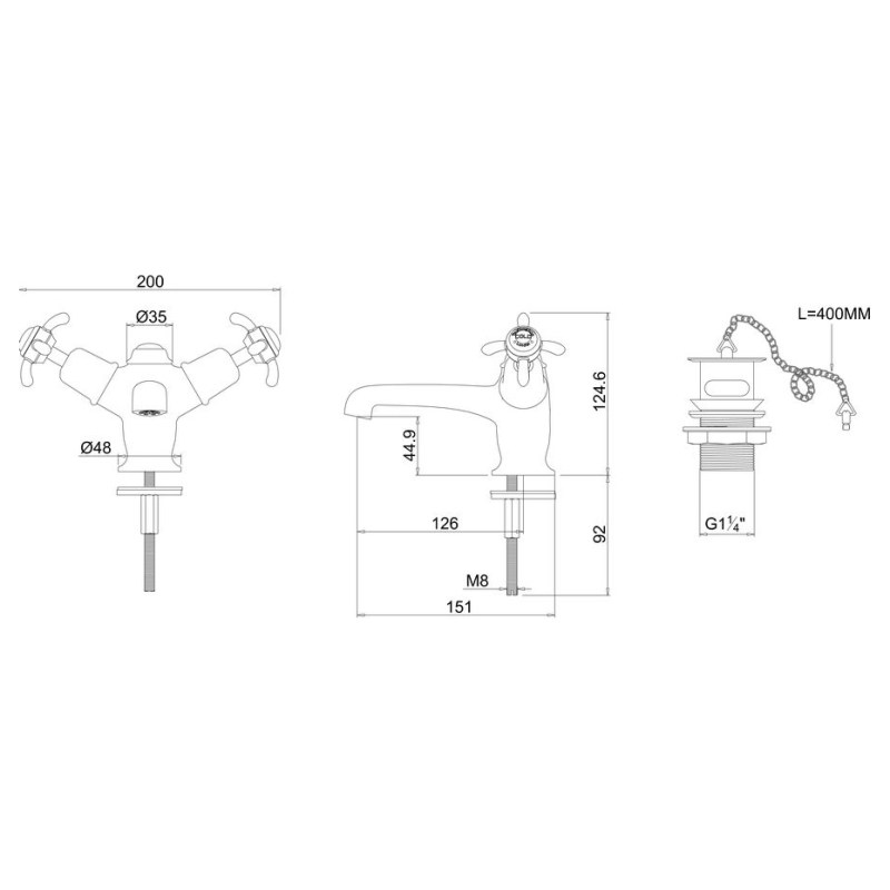 Burlington Anglesey Basin Mixer with Plug & Chain Waste