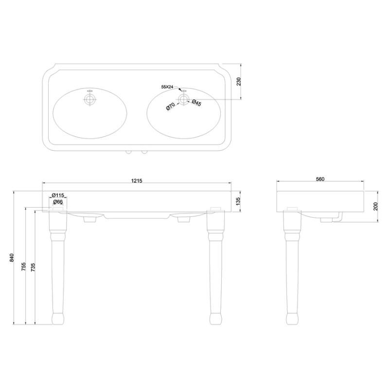 Burlington Arcade 1200mm No Hole Basin & Ceramic Console Legs