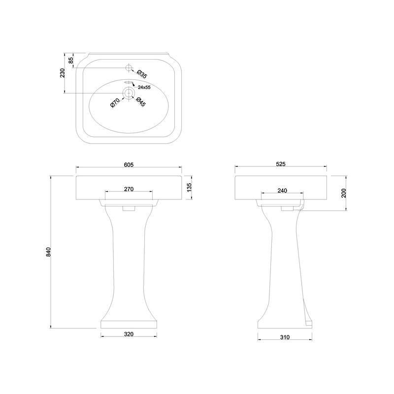 Burlington Arcade 600mm 1 Hole Basin & Pedestal