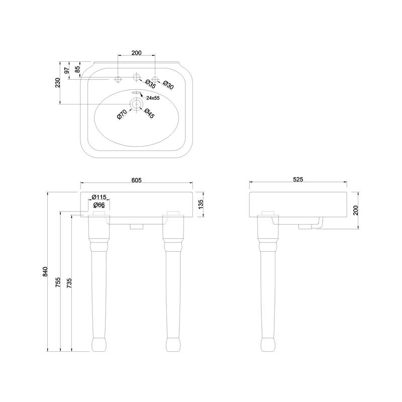 Burlington Arcade 600mm 3 Hole Basin & Ceramic Console Legs