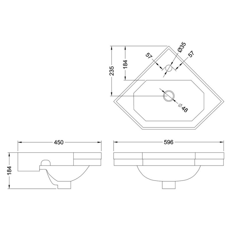 Burlington Corner 59.8cm 1 Hole Cloakroom Basin with Towel Rail
