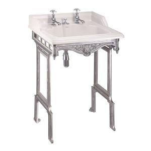 Burlington Classic 65cm 2 Hole Basin & Brushed Aluminium Stand