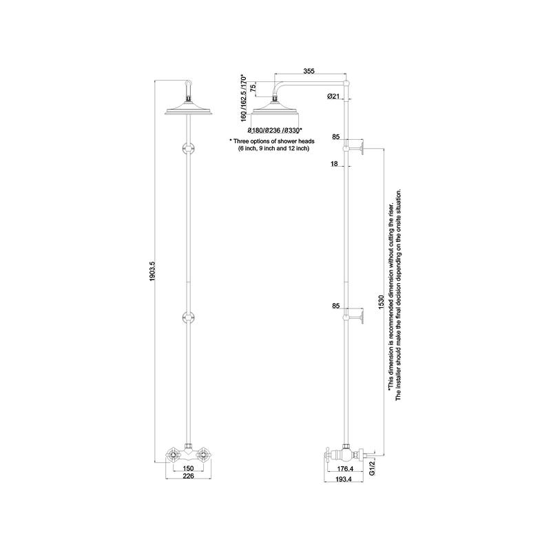 Burlington Eden Single Outlet Bar Valve with Rigid Riser & Rose