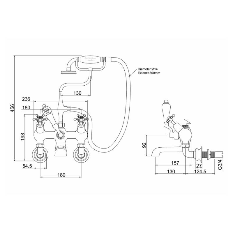 Burlington Birkenhead Regent Angled Wall Bath Shower Mixer