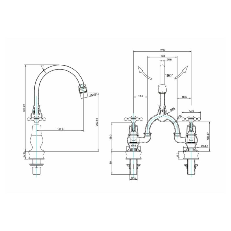 Burlington Birkenhead Regent Arch Curved Spout Mixer, 200mm Centres