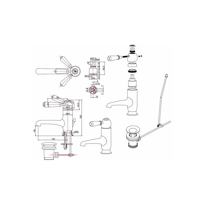 Burlington Chelsea Straight Mono Basin Mixer with Pop Up Waste