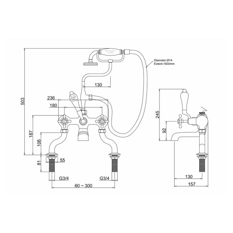 Burlington Claremont Deck Mounted Bath Shower Mixer