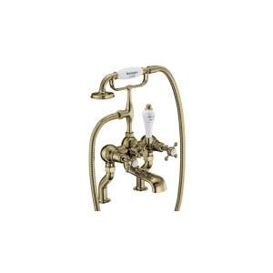 Burlington Claremont Bath Shower Mixer Gold/White