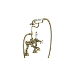 Burlington Claremont Regent Bath Shower Mixer Gold/White