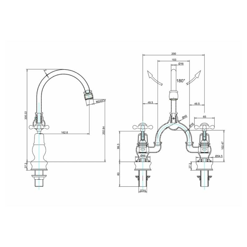 Burlington Claremont Regent Arch Curved Spout Mixer, 200mm Centres